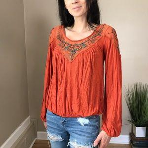 Free People Burnt Orange Boho Beaded Top Shirt